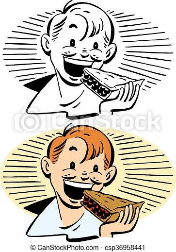 Boy Eating Pie - csp36958441