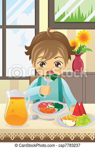 Boy eating vegetables - csp7783237