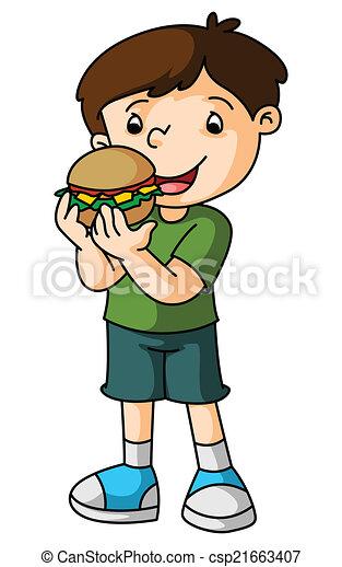 Boy eats burger - csp21663407