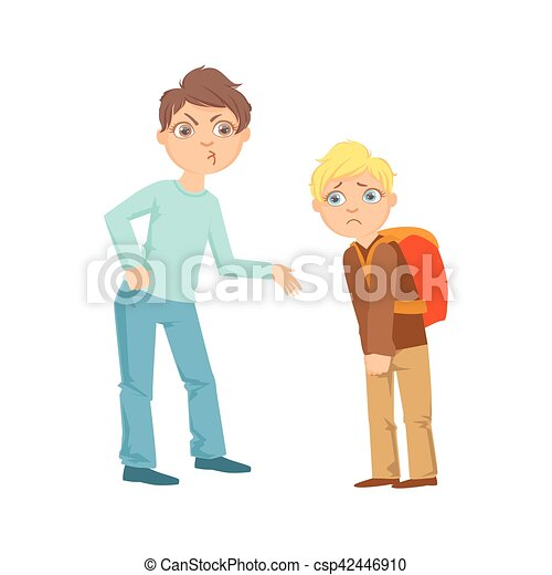 Boy Exorting Money From Weaker Kid Teenage Bully Demonstrating Mischievous Uncontrollable Delinquent Behavior Cartoon Illustration - csp42446910