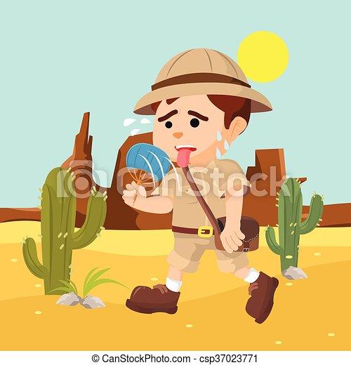 boy explorer suffering from heat - csp37023771