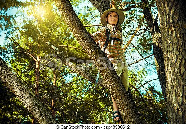 boy exploring nature - csp48386612