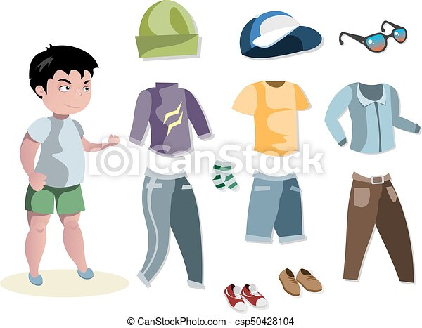 boy fashion set different clothes vector illustration