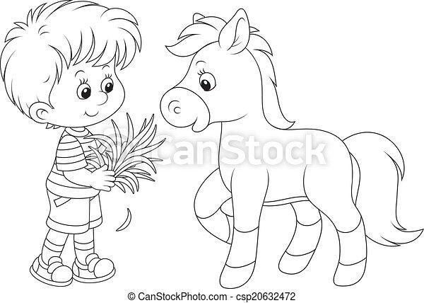 Boy feeds a pony - csp20632472