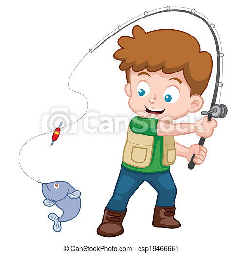vector illustration of cartoon boy fishing rh canstockphoto com boy and girl fishing clipart Boy with Fishing Pole Clip Art