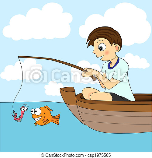 boy fishing in a boat the worm is about to be eaten by the rh canstockphoto com Little Boy Fishing Little Boy Fishing