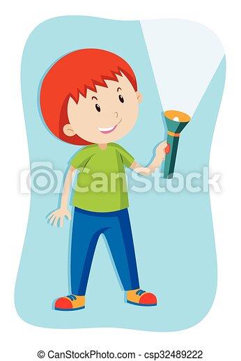 Boy flashing a flashlight - csp32489222