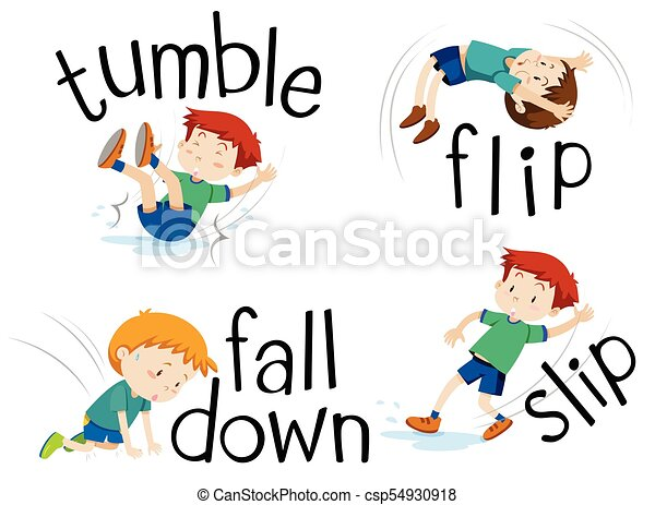 boy flipping and falling down illustration vector clip art search rh canstockphoto com falling clipart images clipart falling snow