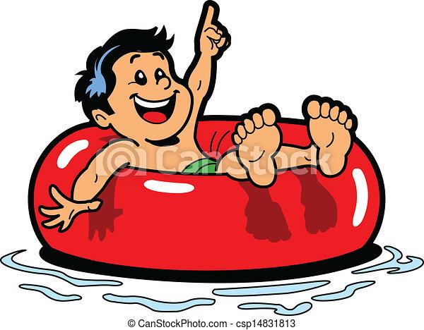 Boy Floating Inner Tube - csp14831813