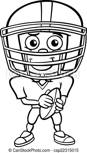 Boy Football Player Coloring Page Black And White Cartoon Football Player Coloring Page
