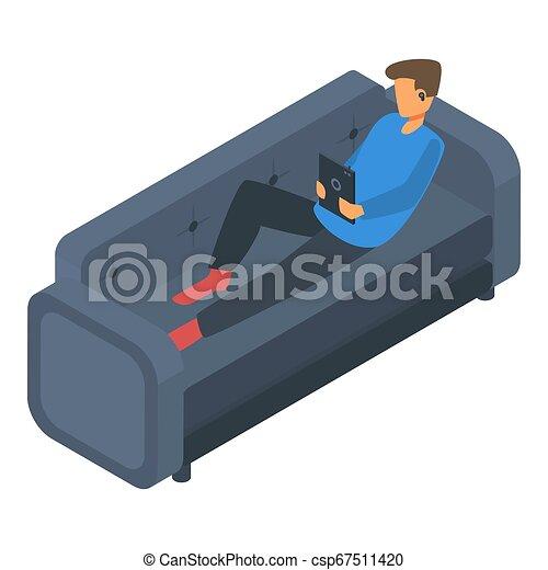 Boy freelancer at sofa icon, isometric style - csp67511420
