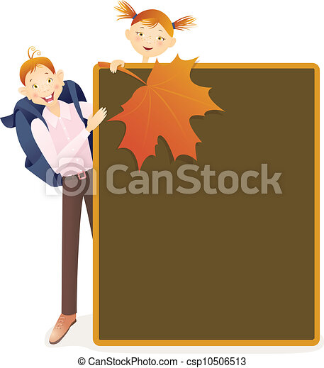 Boy, girl and school board - csp10506513