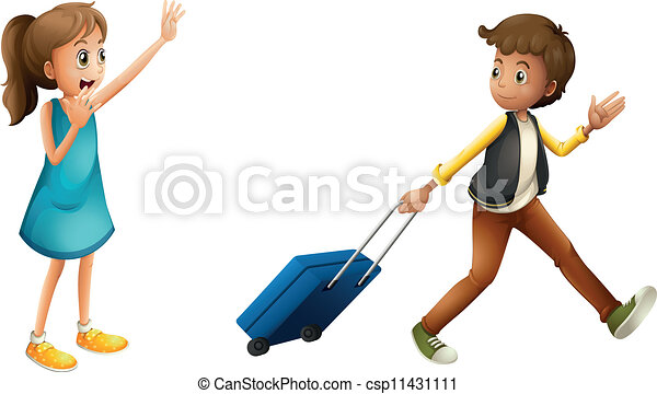 boy, girl and suitcase  - csp11431111