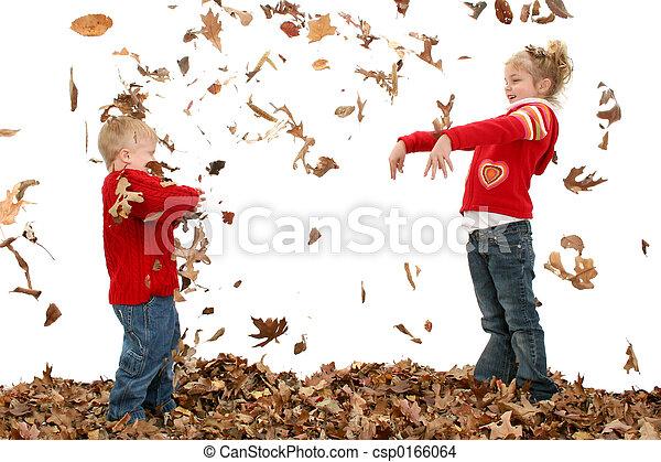 Boy Girl Leaves - csp0166064