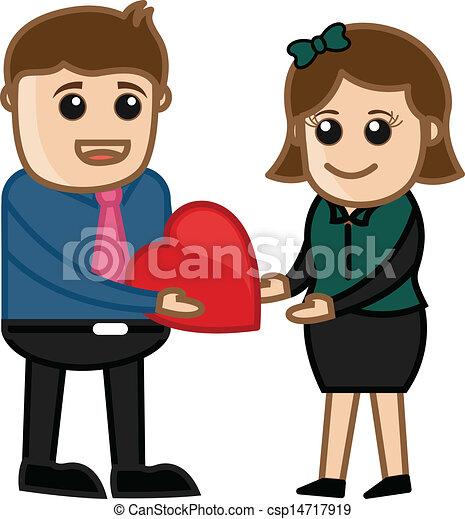 Boy Giving a Heart to Girl Vector - csp14717919