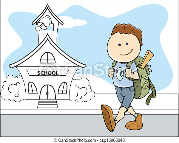 boy going to school kids vector drawing art of cartoon young boy rh canstockphoto com going back to school clipart going to school clipart black and white