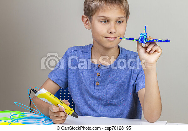 Boy hands creating with 3d printing pen blue plane - csp70128195