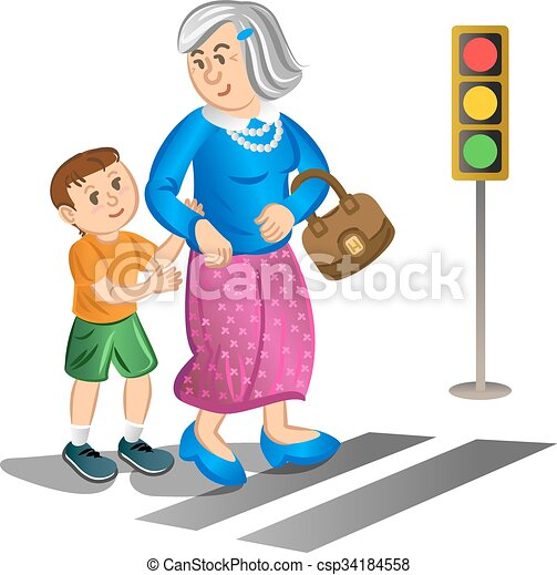 boy helping old lady cross street boy helping old lady clipart rh canstockphoto com little old lady clipart old lady clipart black and white