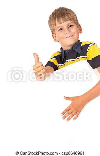 Boy holding a banner - csp8648961