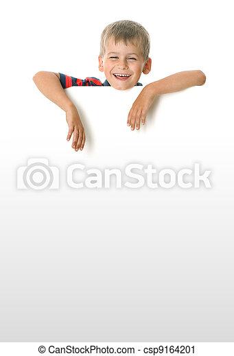 Boy holding a banner - csp9164201