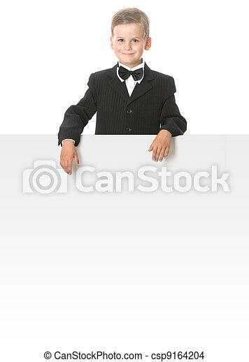 Boy holding a banner - csp9164204