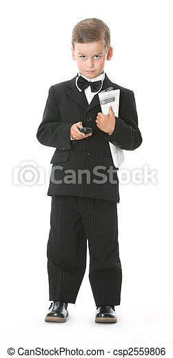 Boy holding a cellphone and newspaper - csp2559806