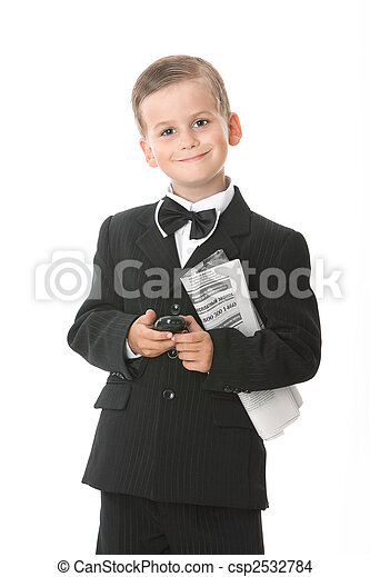 Boy holding a cellphone and newspaper - csp2532784