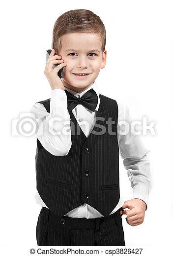 Boy holding a cellphone - csp3826427