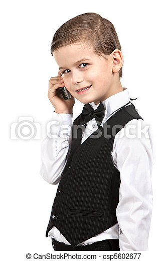Boy holding a cellphone - csp5602677