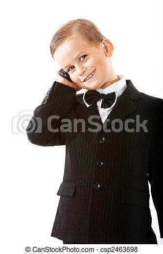 Boy holding a cellphone - csp2463698