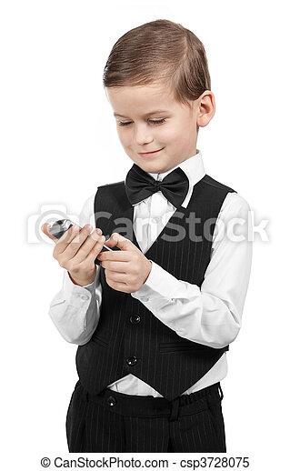 Boy holding a cellphone - csp3728075