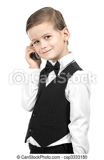 Boy holding a cellphone - csp3333180