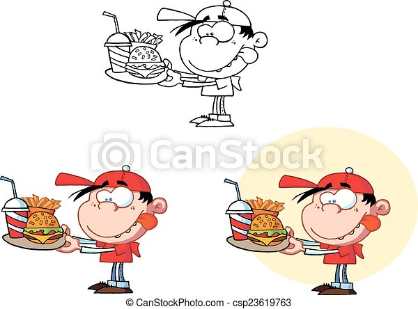 Boy Holding A Fast Food. Collection - csp23619763