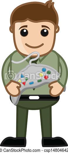 Boy Holding a Game Remote Vector - csp14804642