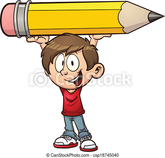 Boy holding a huge pencil - csp18745040