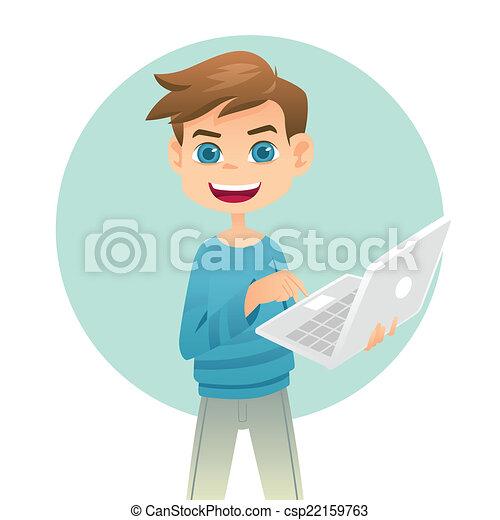 Boy holding a laptop - csp22159763