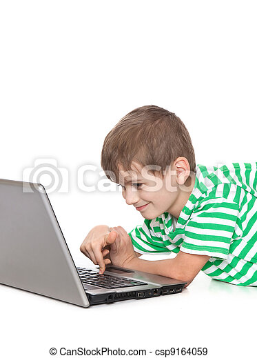 Boy holding a laptop - csp9164059