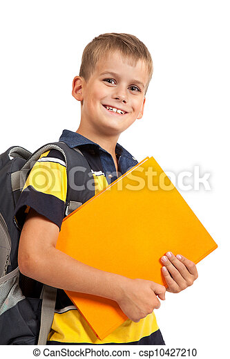 Boy holding books. Back to school - csp10427210