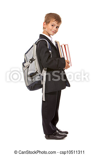 Boy holding books. Back to school - csp10511311