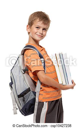 Boy holding books. Back to school - csp10427238