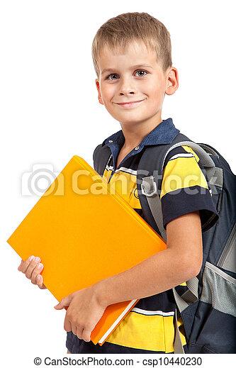 Boy holding books. Back to school - csp10440230