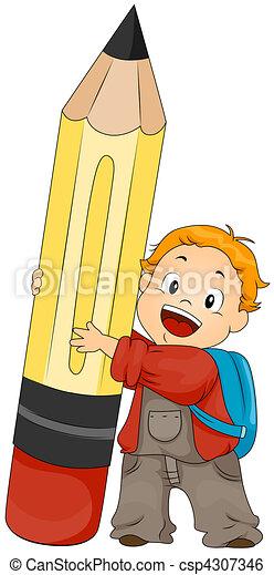 Boy holding Pencil - csp4307346