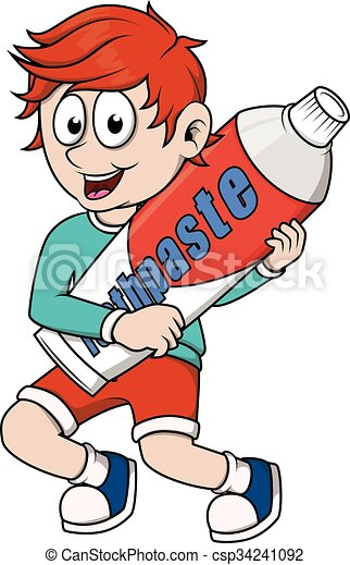 Boy holding tooth paste - csp34241092