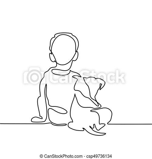 Boy hug dog csp49736134