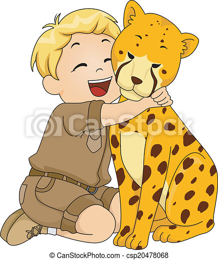 Boy Hugging Cheetah Stuffed Toy - csp20478068