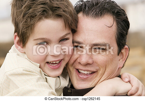 Boy Hugs Man - csp1262145