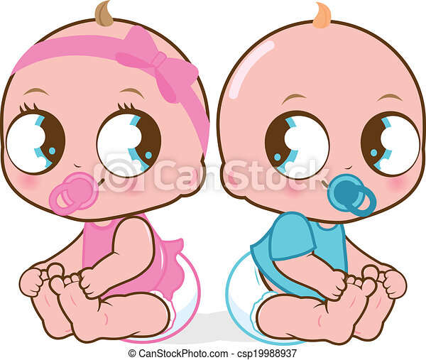 Bebés gemelos. Una niña y un bebé. Ilustración de vectores - csp19988937