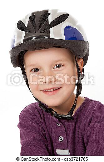 boy in bicycle helmet - csp3721765