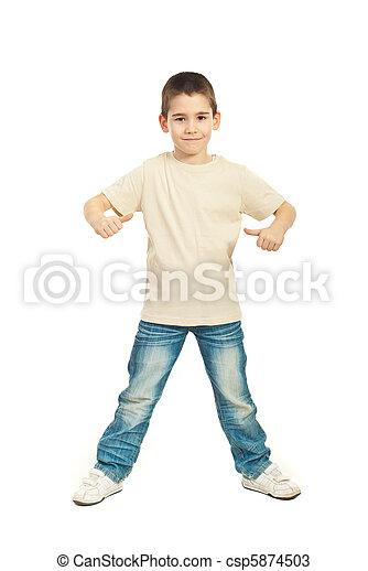 Boy in blank beige t-shirt - csp5874503