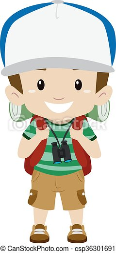 Boy In Camping Costume Vector